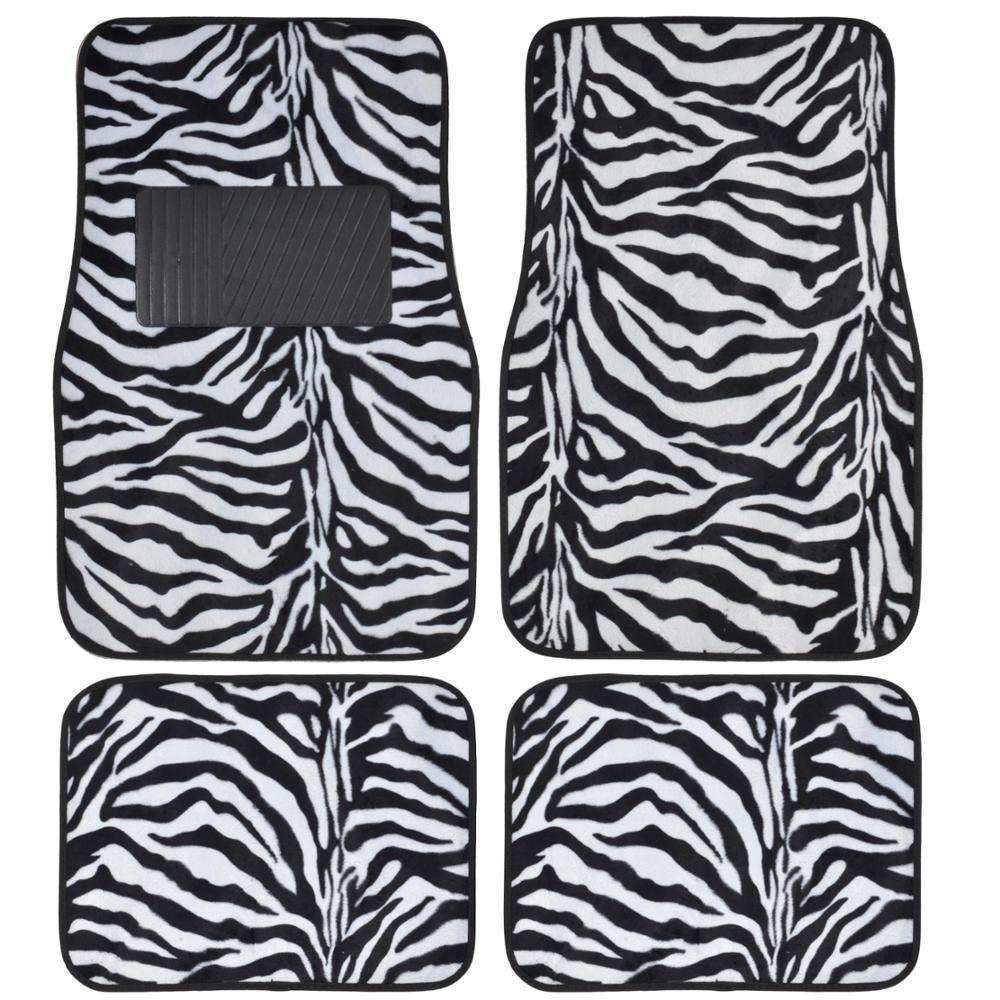 Zebra Print MT-902 White Animal Print 4-Piece Carpet Car ...