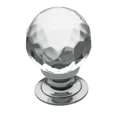 1 in. Faceted Crystal Polished Chrome Round Cabinet Knob