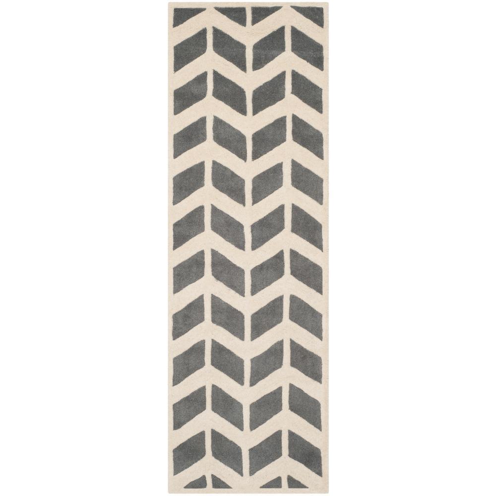 Chatham Dark Gray/Ivory 2 ft. x 9 ft. Runner Rug