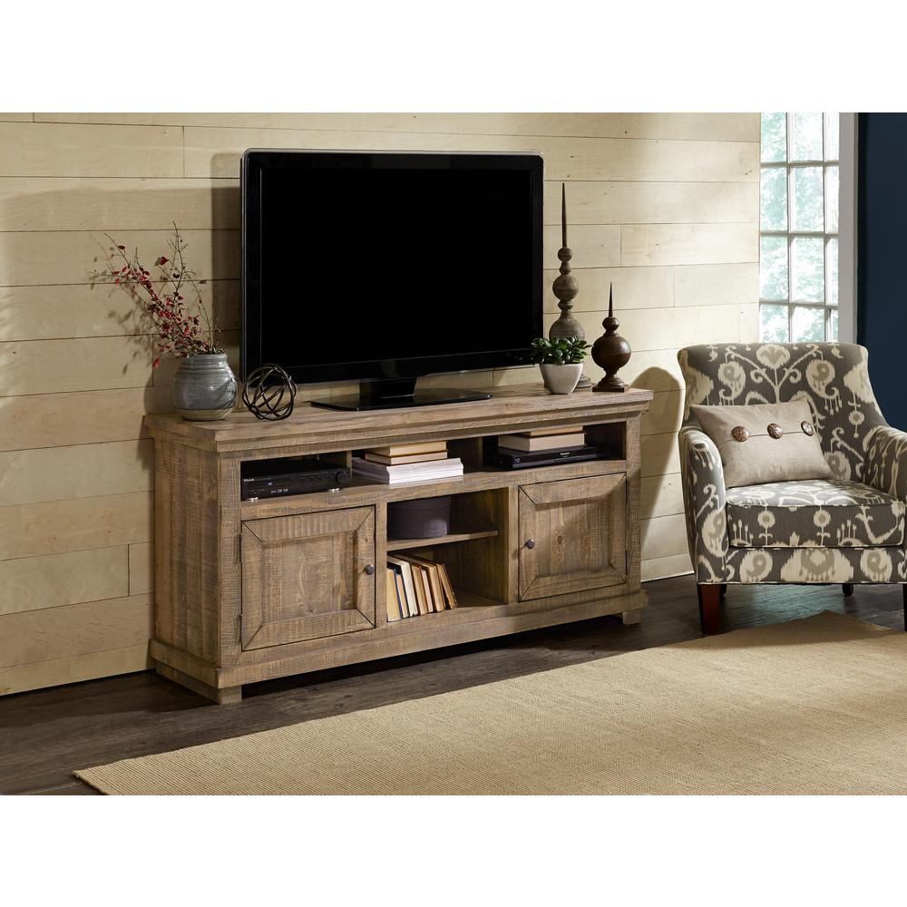 Willow 64 in. Weathered Gray Wood TV Stand Fits TVs Up to 55 in. with Storage Doors