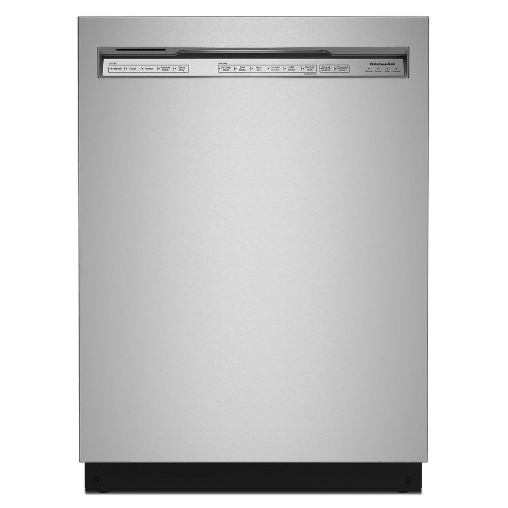 KitchenAid 24 in. Front Control Built-in Tall Tub Dishwasher in PrintShield Stainless with Stainless Steel Tub and Third Level Rack