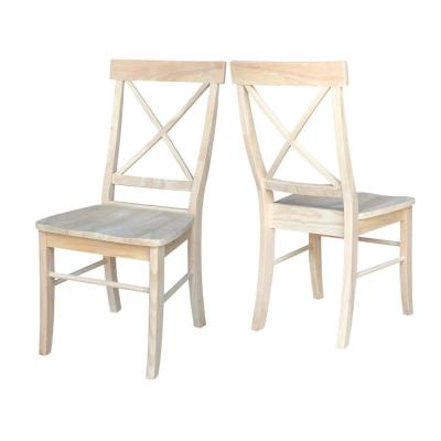 Unfinished Wood X-Back Dining Chair (Set of 2)