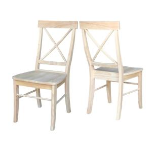 2 International Concepts Unfinished Wood X Back Dining Chair