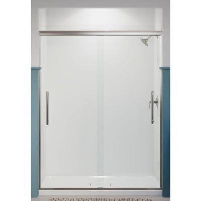 Pleat 59.625 in. x 79.0625 in. Frameless Sliding Shower Door in Anodized Brushed Nickel with Crystal Clear Glass
