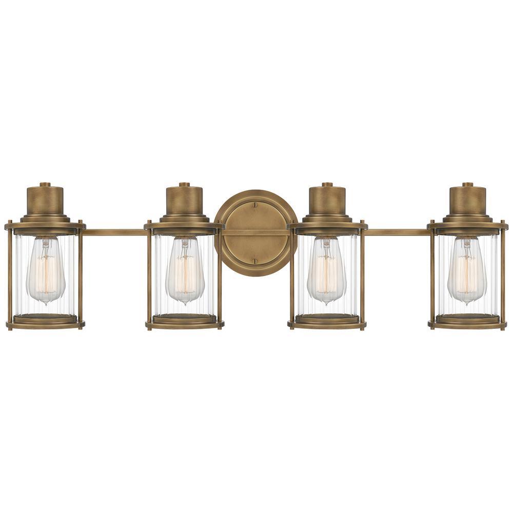 Riggs 4-Light Weathered Brass Vanity Light