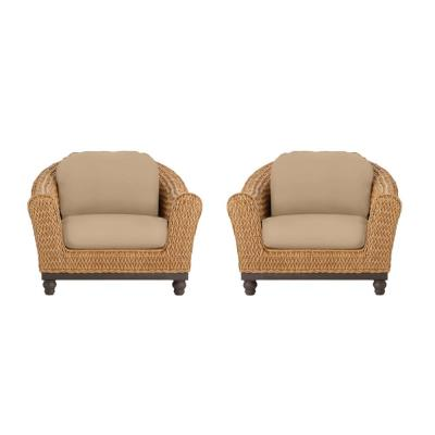 Camden Light Brown Seagrass Wicker Outdoor Patio Lounge Chair with Sunbrella Beige Tan Cushions (2-Pack)