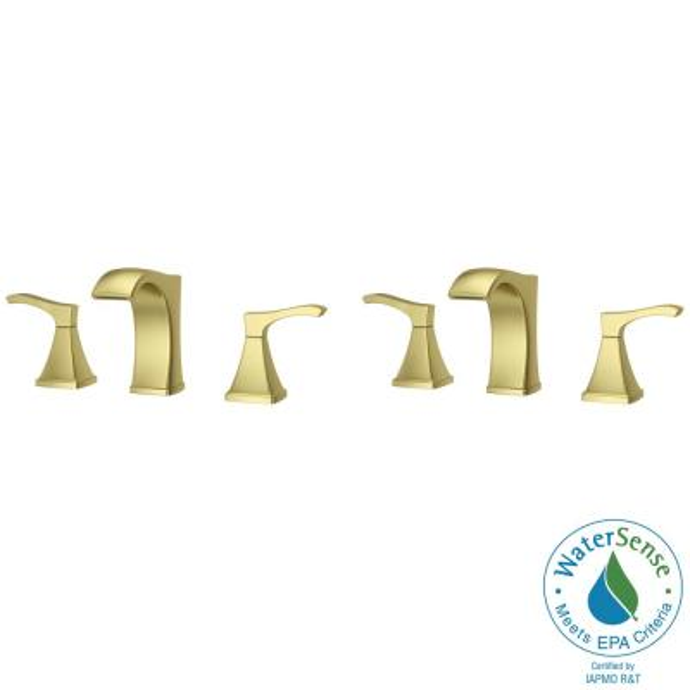 Venturi 8 in. Widespread 2-Handle Bathroom Faucet in Brushed Gold (2-Pack)