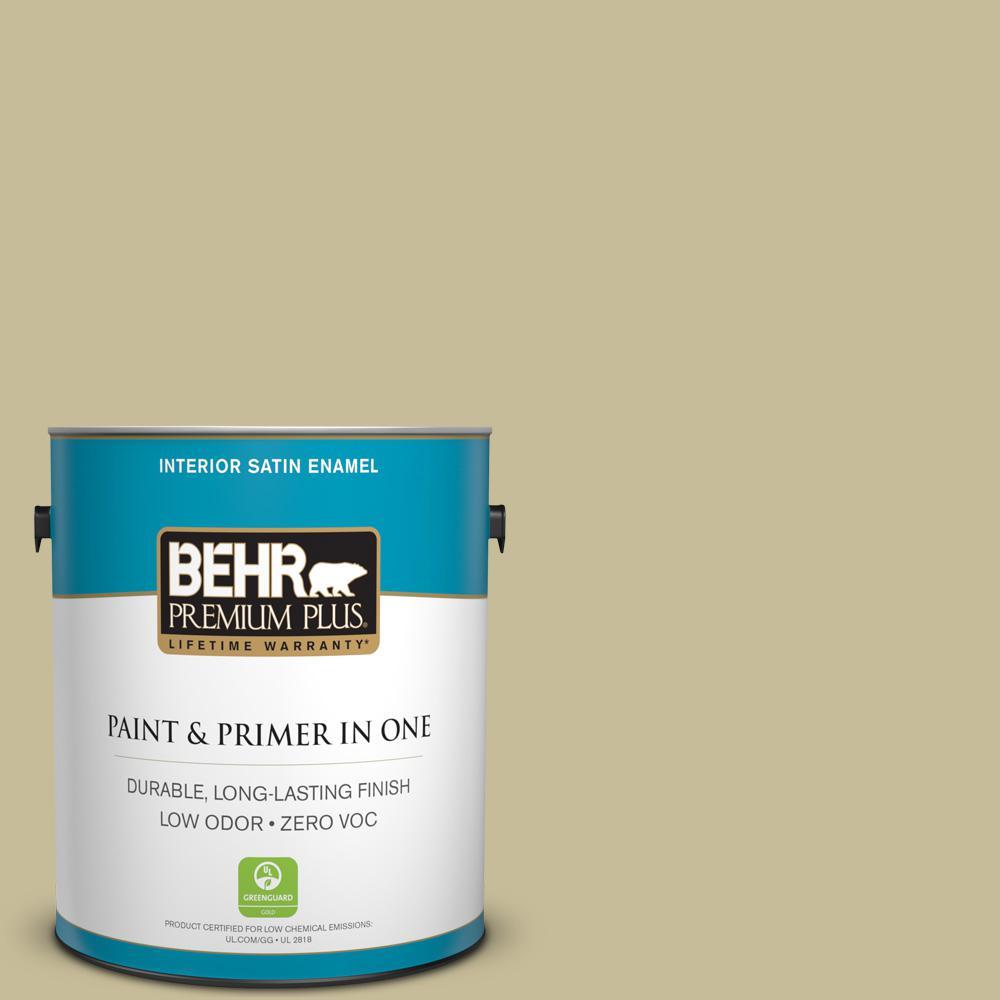 1 gal. #PPU8-09 Tea Bag Zero VOC Satin Enamel Interior Paint