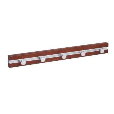 22.44 in. L x 2.28 in. H Wood 5-Moveable Peg Hooks Wall Rak in Cherry