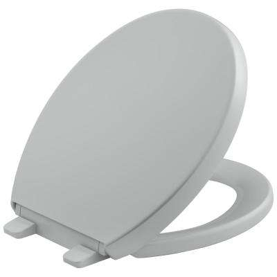Grip Tight Reveal Q3 Round Closed Front Toilet Seat in Ice Grey