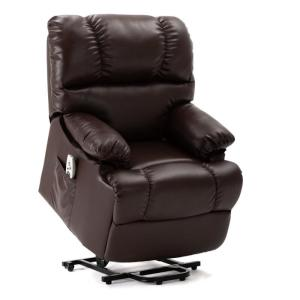 Brown Abert Reclining Heated Full Body Massage Chair with Ottoman