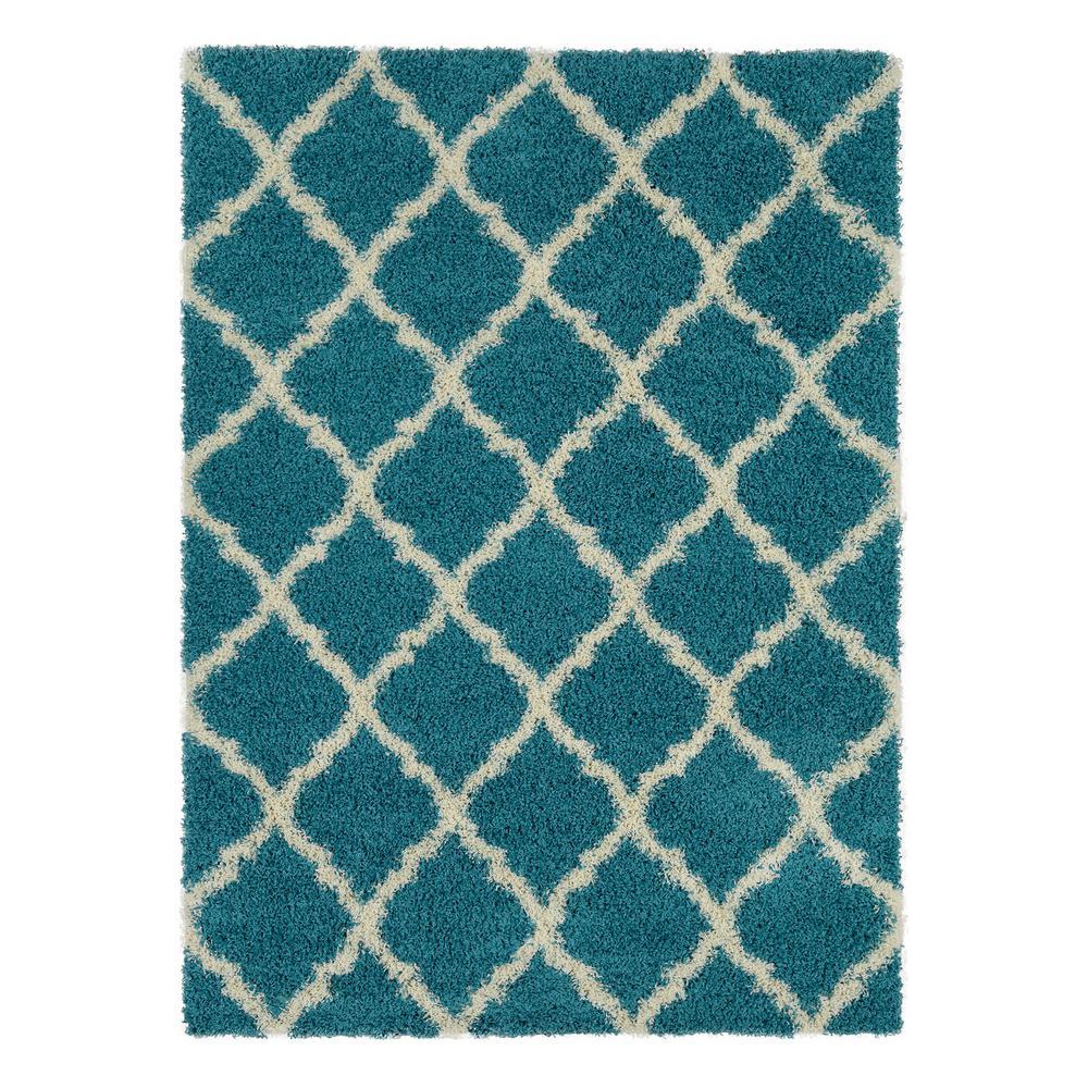 Berrnour Home Plush Moroccan Trellis Design Turquoise 7 ft. x 9 ft. Shag Area Rug