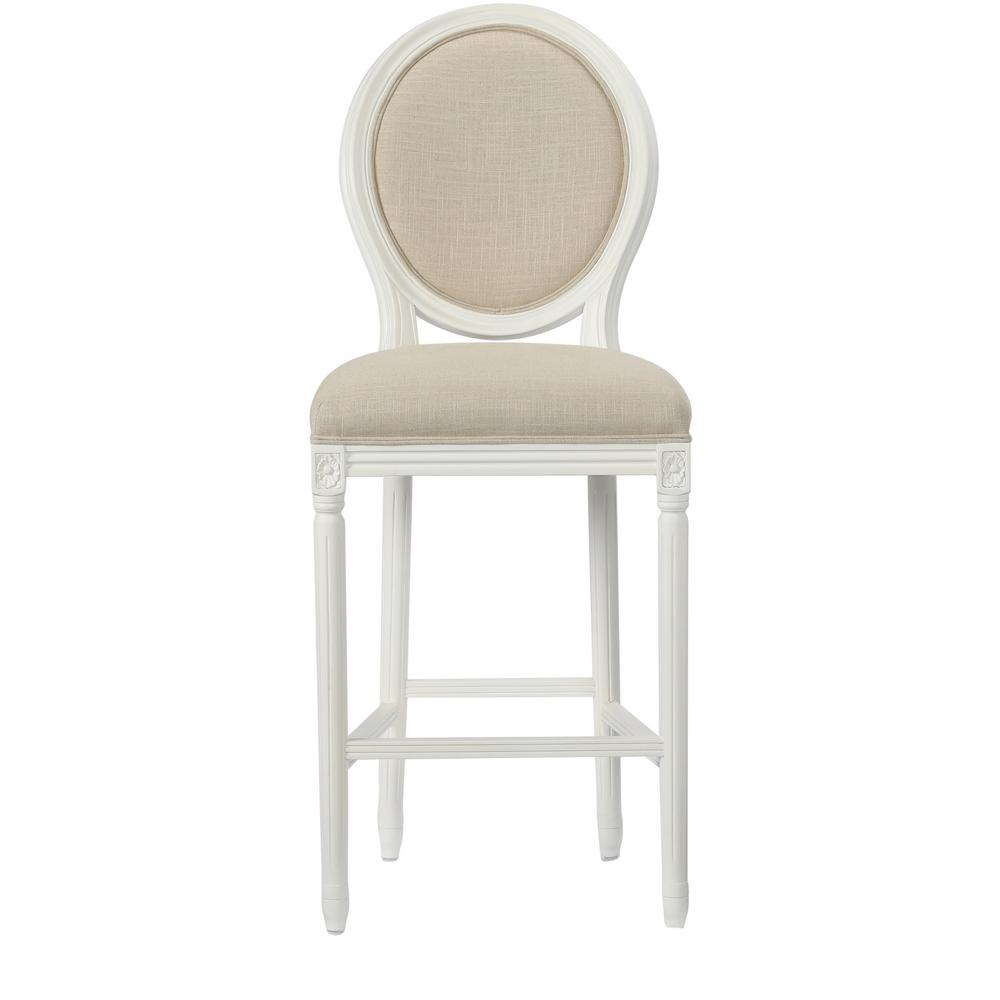 HomeDecoratorsCollection Home Decorators Collection Jacques 30.5 in. Natural Cushioned Bar Stool in Antique Ivory with Oval Back