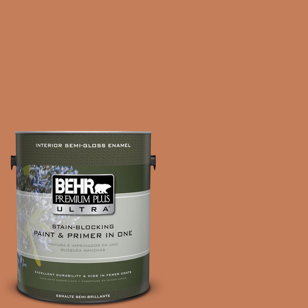 BEHR Premium Plus Ultra 1-gal. #M210-6 Orange Liqueur Semi-Gloss Enamel Interior Paint