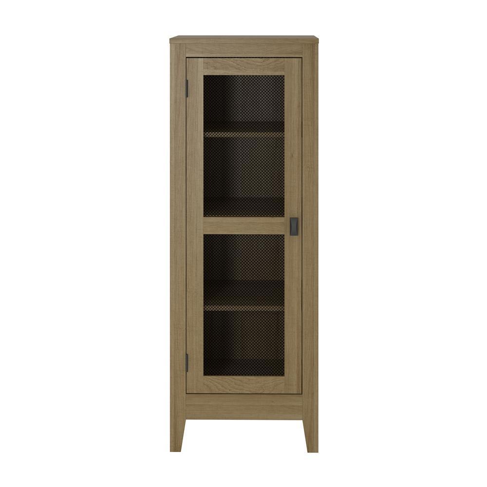 System Build Luca Golden Oak Storage Cabinet with Mesh Door