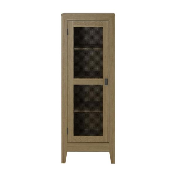 System Build Luca Golden Oak Storage Cabinet with Mesh Door