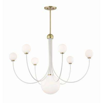 Coco 7-Light Aged Brass/White LED Chandelier with Opal Shiny Glass Shade