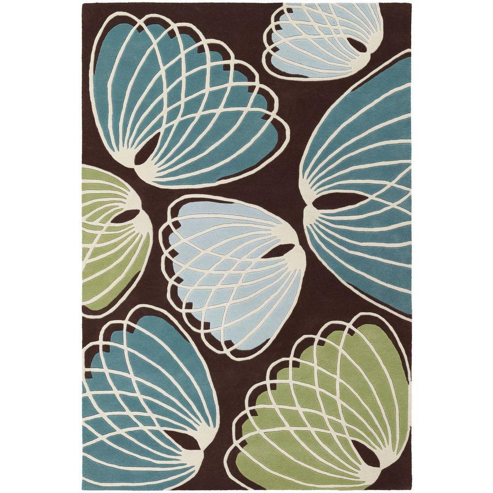 Chandra Inhabit Browngreenbluewhite 5 Ft X 8 Ft Indoor Area Rug