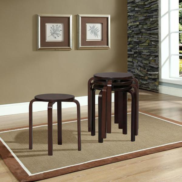 Linon Home Decor 17.72 in. Dark Brown Wood Bar Stool (Set