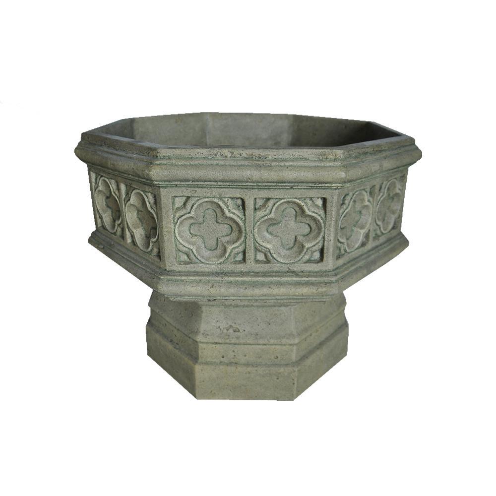 19.5 in. H Granite Cast Stone Gothic Urn