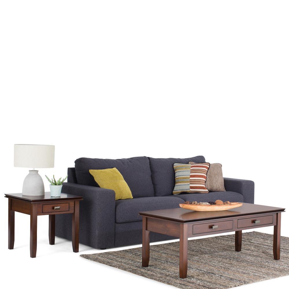Simpli Home Artisan Medium Auburn Brown Coffee Table