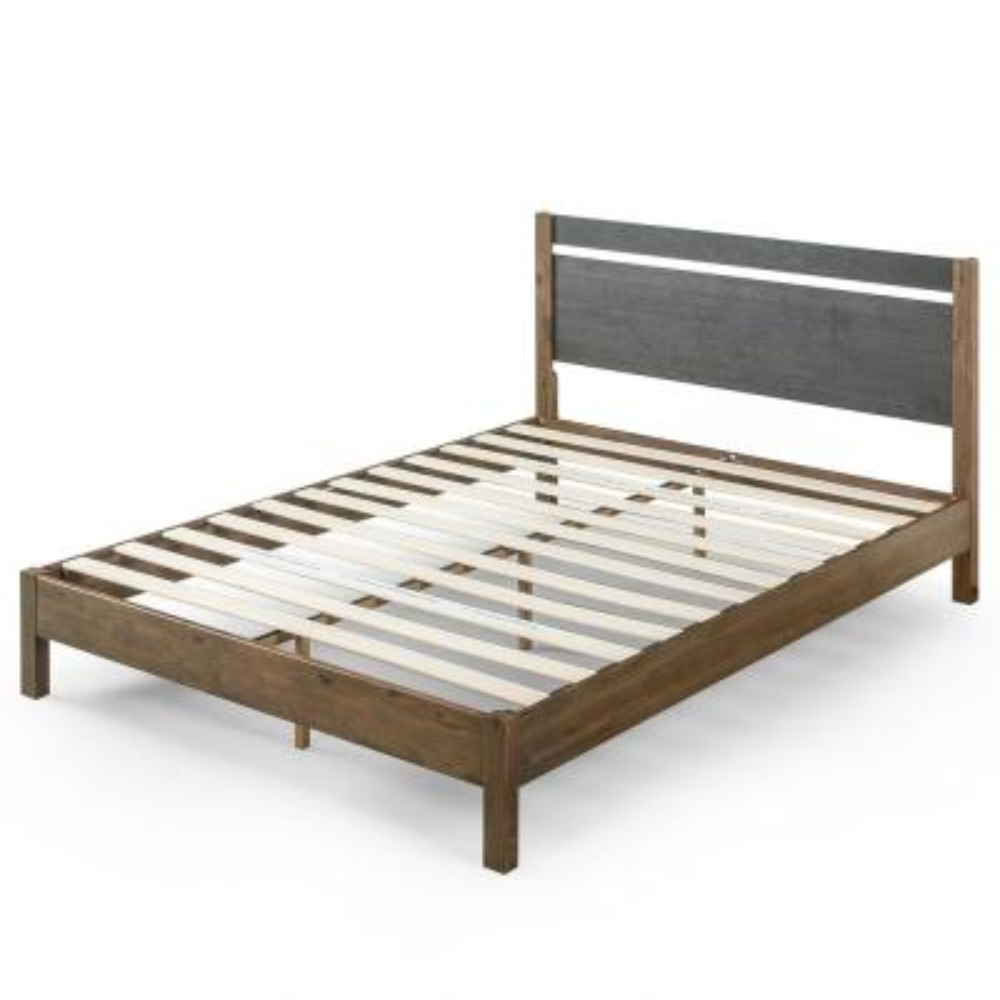 Stefan 12 in. Full Wood Platform Bed with Headboard