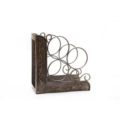 10.25 in. x 4.75 in. x 10.25 in. Ant. Emb. Victoria 3-Bottle Wine Rack Bookend