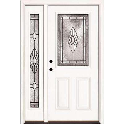 50.5 in. x 81.625 in. Sapphire Patina 1/2 Lite Unfinished Smooth Right-Hand Fiberglass Prehung Front Door with Sidelite