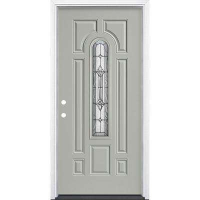 36 in.x 80 in. Providence Center Arch Silver Cloud Right-Hand Inswing Painted Fiberglass Prehung Front Door w/ Brickmold