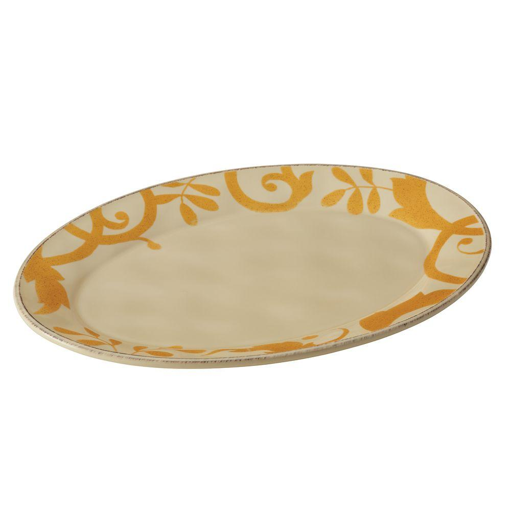 Dinnerware Gold Scroll 12-1/2 in. Round Platter in Almond Cream