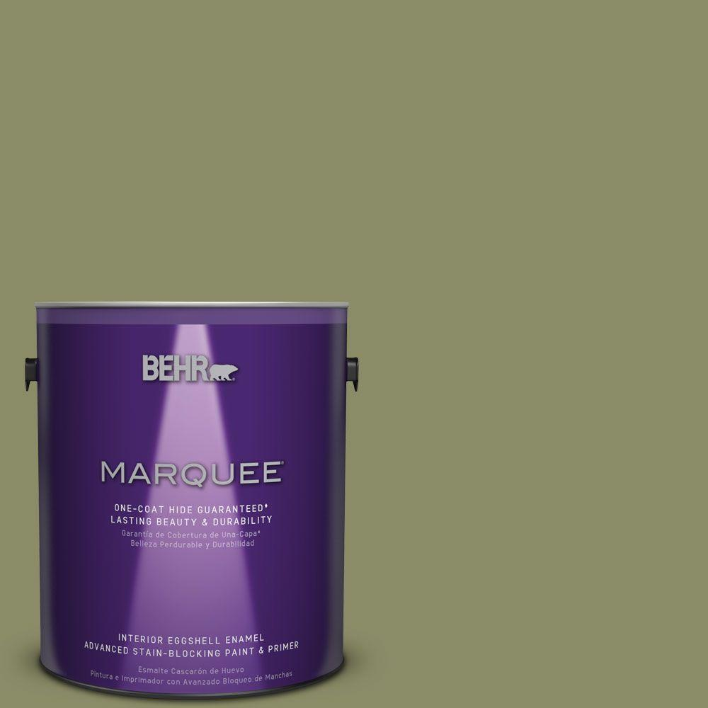 1 gal. #S370-5 Pesto Paste One-Coat Hide Eggshell Enamel Interior Paint