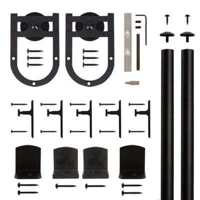 Horse Shoe Black Rolling Door Hardware Kit for 3/4 in. to 1-1/2 in. Door