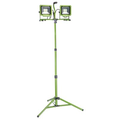 10,000 Lumen Weatherproof Dual Head LED Work Light with Metal Tripod, Impact-Resistant Glass Lens and 9' Cord