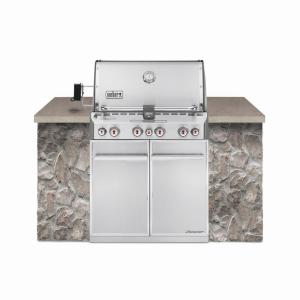 Weber Summit S-460 4-Burner Built-In Natural Gas Grill in Stainless Steel with Grill Cover and Built-In... by Weber