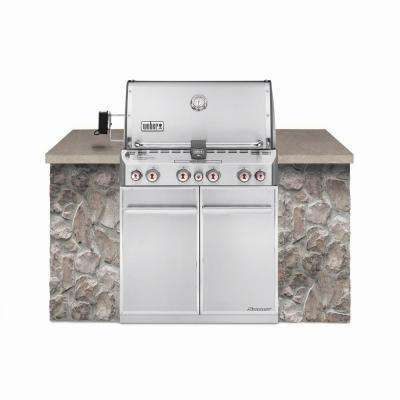 Summit S-460 4-Burner Built-In Natural Gas Grill in Stainless Steel with Grill Cover and Built-In Thermometer