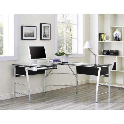 Wingate Glass Top Black L Shape Desk