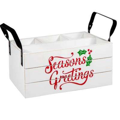 12 in. L Seasons Greetings 4-Section Wooden Caddy