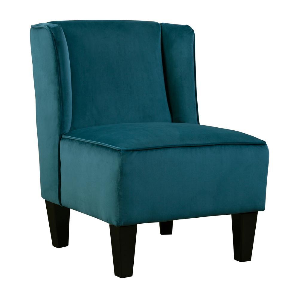 Charlie Navy Blue Winged Upholstered Slipper Chair