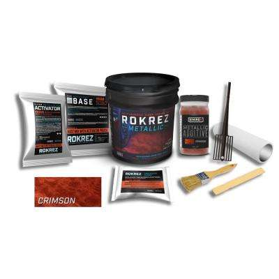 ROKREZ 128 oz. Metallic Crimson Gloss 125 sq. ft. DIY 2 Component 100% Solids Waterproofing Epoxy Garage Floor Kit