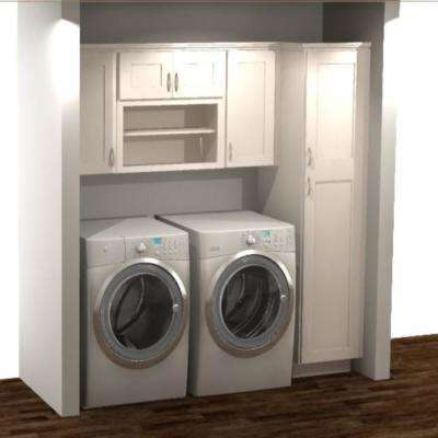 Shaker Ready to Assemble 82x84x24 in. Laundry Kit with Assembled Wall and Pantry Cabinets in Satin White