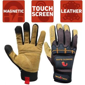 Large Heavy-Duty Magnetic Glove with Leather Palm and Touchscreen Technology