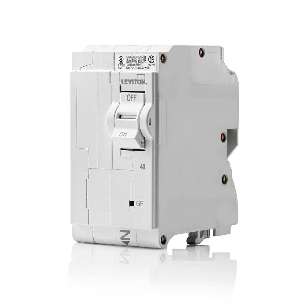 Branch Circuit Breaker, GFCI 2-Pole 40 Amp, 120-Volt/240-Volt, Hydraulic Magnetic