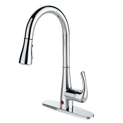 Single-Handle Pull-Down Sprayer Kitchen Faucet with Hands-Free in Chrome