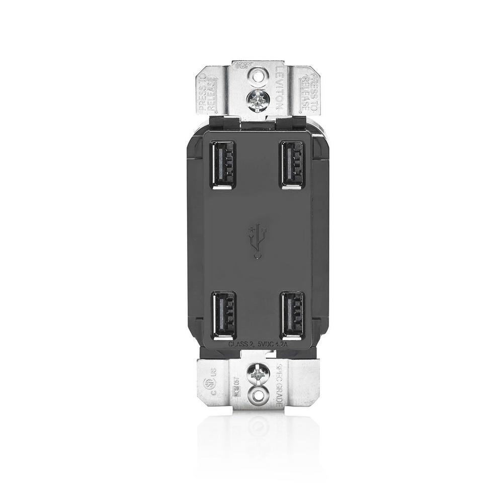 Leviton 4.2 Amp Decora USB Charger, Black-USB4P-E - The Home Depot