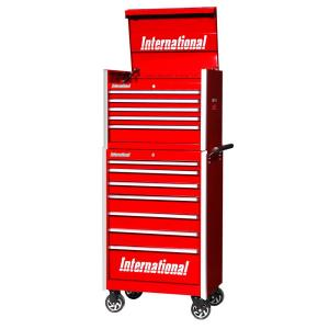 International Pro Series 27 inch 12-Drawer Tool Chest and Cabinet Combo Red by International