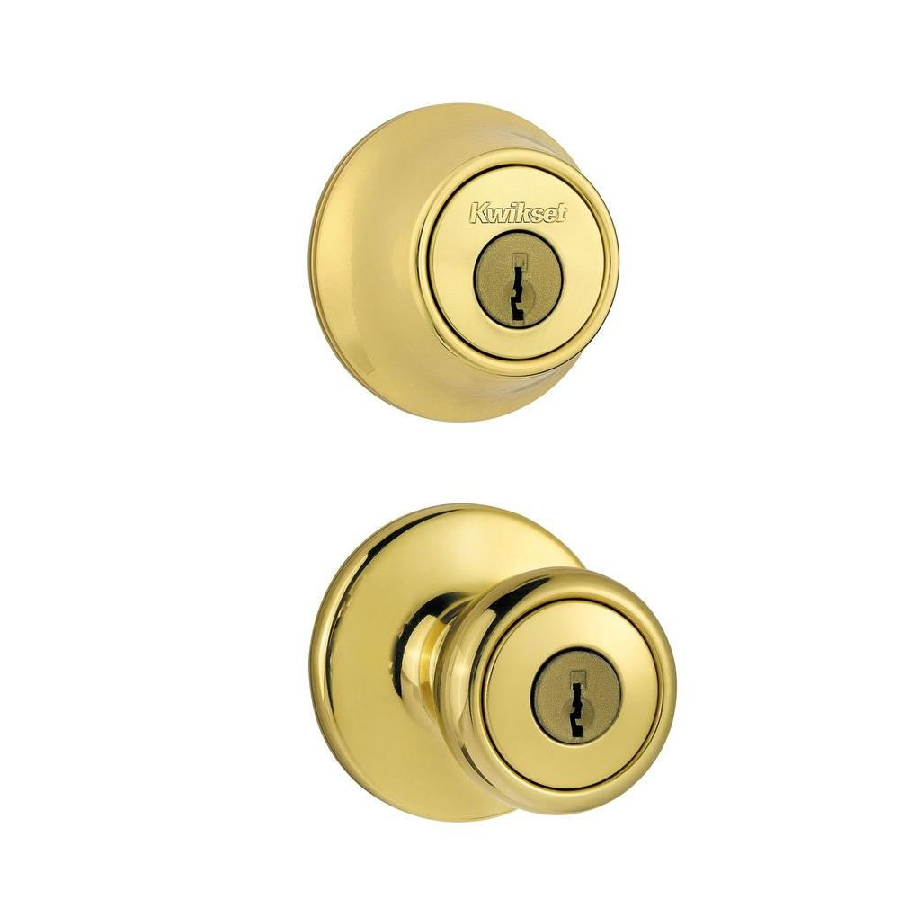 Kwikset Tylo Polished Brass Entry Knob and Double Cylinder Deadbolt Combo Pack