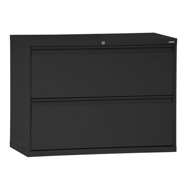 Sandusky 800 Series 28 in. H x 30 in. W x19 in. D 2-Drawer Full Pull Lateral File Cabinet in Black