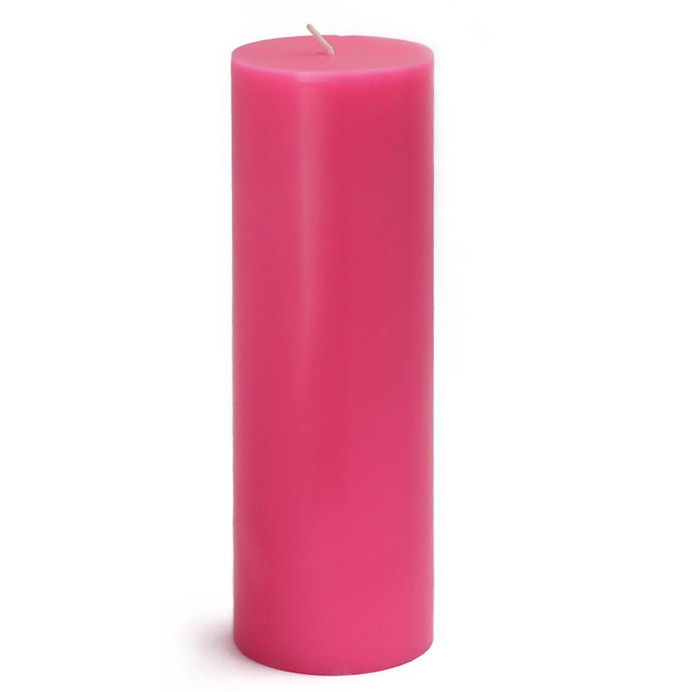 3 in. x 9 in. Hot Pink Pillar Candles Bulk (12-Case)