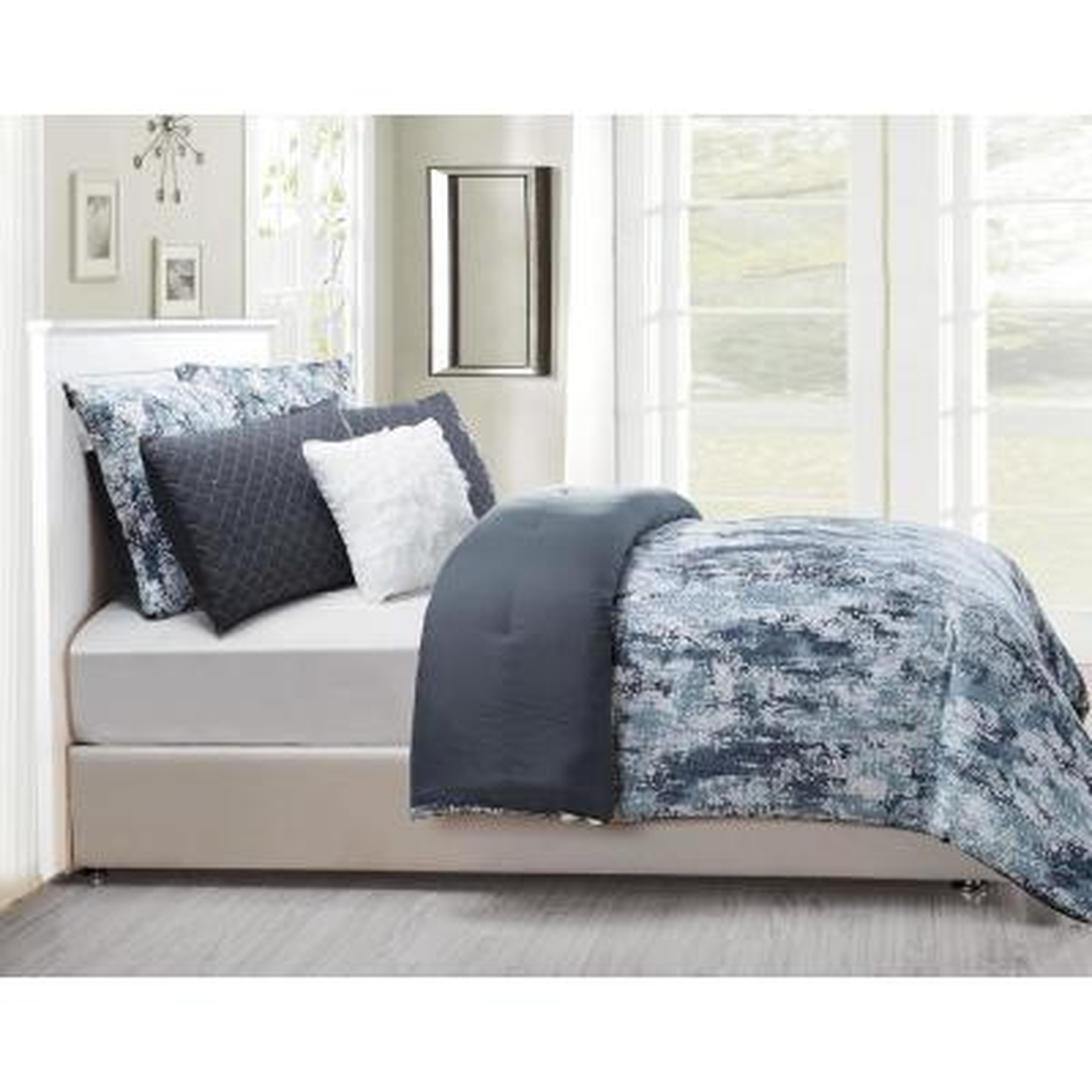 Staas 6 Piece Oversize/Overfilled Queen Comforter Set in Grey