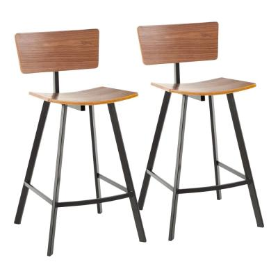 Rocco 25 in. Counter Stool in Black Metal and Walnut Wood (Set of 2)